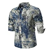 OWMEOT 100% Cotton Mens Casual V-Neck Button Slim Muscle Tops Tee Long Sleeve T- Shirts (Multicolor, M)
