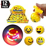 Set of 12 Large 3-inch LED Light Up Flashing Emoji Spinning Tops with Gyroscope and Music, Novelty Bulk Toys Party Favors