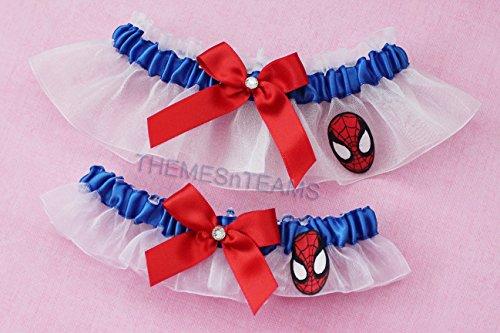 Customizable handmade - Spiderman fabric - blue satin & white organza bridal garter set wedding prom garters by BOYX Designs