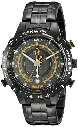 (Timex Men's T2P139 Grey Stainless Steel Intelligent Quartz Tide Temperature Compass Watch)