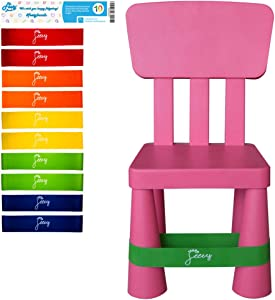 Chair Bands for ADHD Kids - (10-Pack) Bouncy Kick Fidgets for Chairs and Desk Best for School Students and Fidgety Adults | Flexible Seating Classroom Furniture (Colorful) Fidget Feet Band by Feety