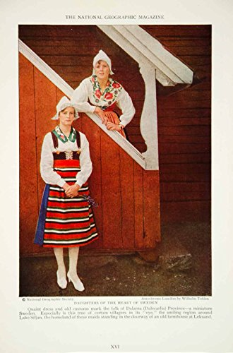 Peasant Villager Costumes (1928 Print Dalarna Sweden Villagers Peasant Women Traditional Costume NGMA2 - Original Halftone Print)