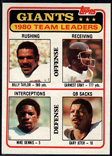 Football NFL 1981 Topps #188 Billy Taylor/Earnest Gray/Mike Dennis/Gary Jeter TL NY Giants ()