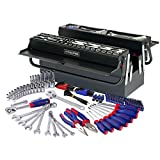 WORKPRO 183PC Tool Set Cantilever Tool Box- General Household Tool Kit with 5 Compartment Metal Box - Durable, Long Lasting Chrome Finish Tools - Perfect for DIY, Auto, Home Maintenance - Premium Tool Box Set