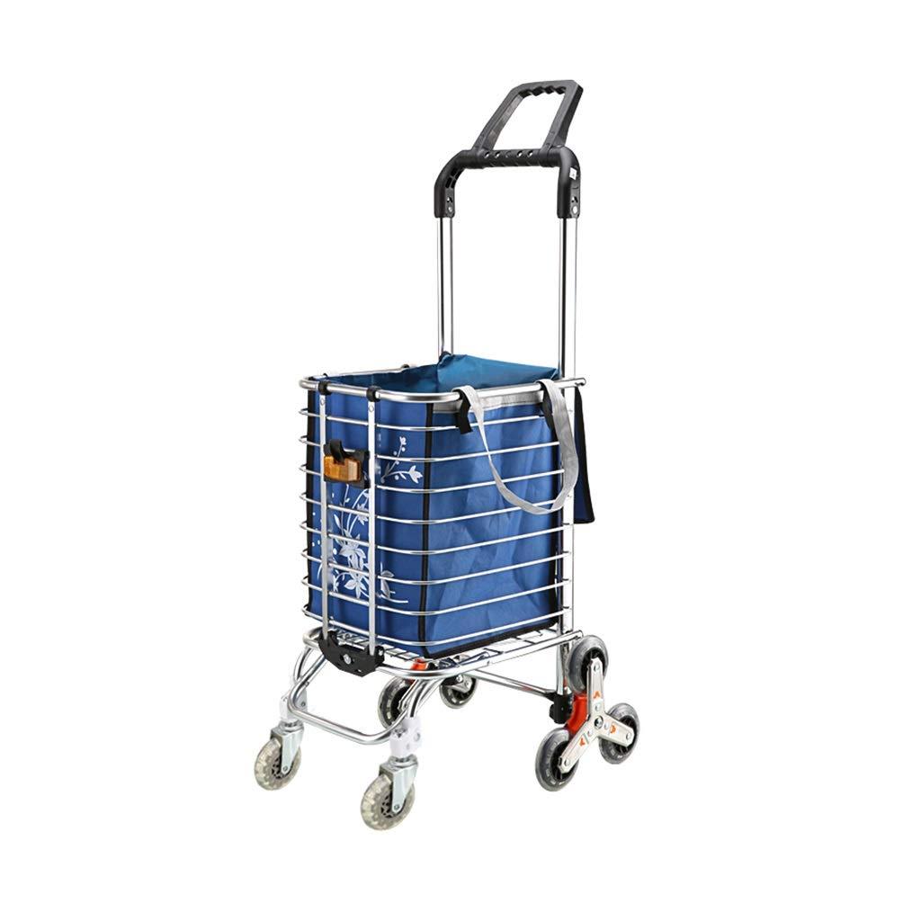 Blue Cart Convenient Folding Eight-Wheeled Home Small Cart 44x30x105cm Shopping Carts FJH Color : B