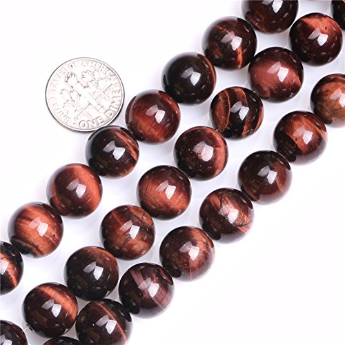 Sweet Happy Girl's 12mm Round Red Tiger Eye Beads Strand 15 Inch Jewelry Making (Red Tiger Eye Round Beads)