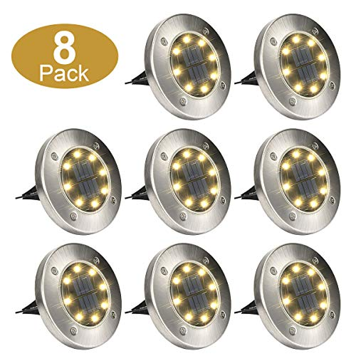 GIGALUMI 8 Pack Solar Ground Lights, 8 LED Solar Powered Disk Lights Outdoor Waterproof Garden Landscape Lighting for Yard Deck Lawn Patio Pathway Walkway (Yellow)