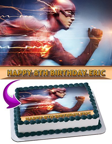 Flash Barry Allen DC Comics Edible Cake Topper Personalized Birthday 1/4 Sheet Decoration Custom Sheet Party Birthday on Wafer Rice Paper -