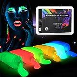 UV Neon Face & Body Paint Glow Kit, Blacklight Body Paint, Fluorescent Body Paint, Blacklight Neon Face Paint Stick, Blacklight Reactive Fluorescent Paint - Safe, Washable, 10 Colors