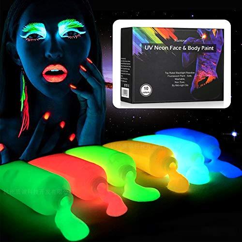 Blacklight Body Paint, Face & Body Paint, Fluorescent Body Paint, Blacklight Neon Face Paint Stick, Face & Body Paint Glow Kit, High Quality Blacklight Reactive Fluorescent Paint - Safe, Washable, No