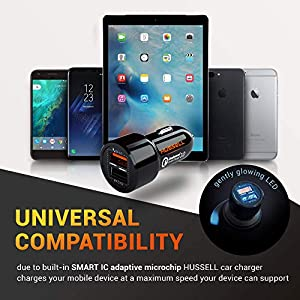 2019 HUSSELL Car Charger – Qualcomm Quick Charge 3.0 – Dual USB 5.4A/30W Fast Car Charger Adapter – QC 3.0 3A + Smart IC 2.4A – Compatible with iPhone – Galaxy S10 S9 S8 S7 S6 Note LG Nexus etc.