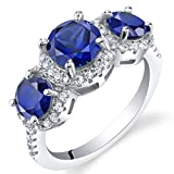 Created Blue Sapphire Sterling Silver 3 Stone Halo Ring Size 6