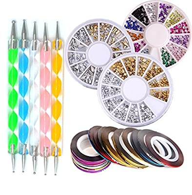 Addfavor Nail Art Kit Nail Rhinestones Decoration Rolls Dotting Pen Nails Art Equipment Set Beauty Tools & Accessories