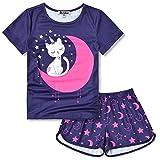 Toddler Girls Cat Pjs Sets Pajamas Kids 3t 4t Sleep Shirt Pyjama Navy