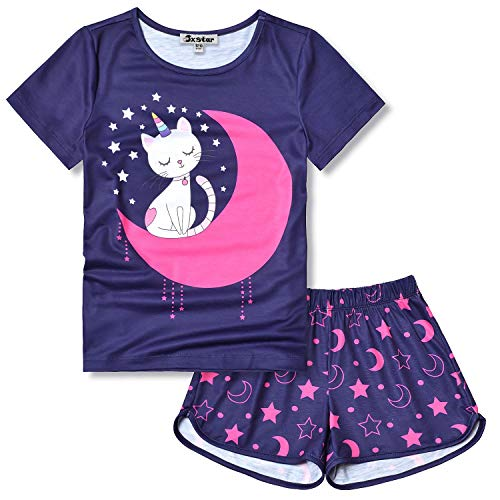 Girls Cat Pj Sets Summer Pajamas Short Sleeve Cotton Sleepwear Size 6 7