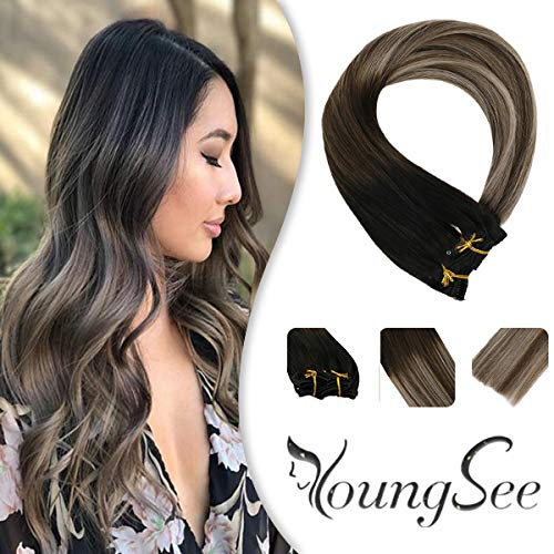 "YoungSee 14"" Clip on Hair Extensions Human Hair Balayage Black Fading to Dark Brown with Ash Blonde Double Weft Clip in Remy Hair Extensions 120g 7pcs"