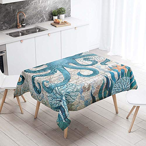 Fansu Antimanchas Mantel para Mesa Rectangular, Impermeable Lavable Poliester Bonita Medusa Mantel - Adecuado para Decorar Cocina Comedor Salon (140x260cm,Pulpo Verde)