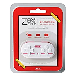 Gam3Gear Palm Pocket Size 8Bitdo Zero Wireless Gamepad Controller Shutter for Android iOS Windows Mac White Red with Keychain