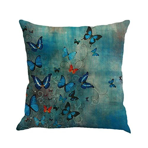 Pillow Case, Exclusive New Fashion Butterfly Painting Linen Cushion Cover Throw Waist Pillow Case Sofa Home Decor (Multicolor &StyleA)