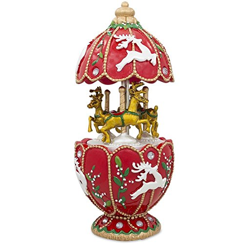 BestPysanky Animated Musical Carousel with Golden Reindeer
