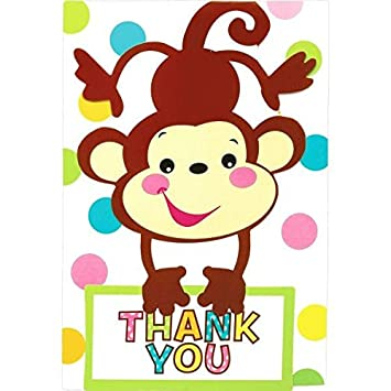Adorable Fisher Price Baby Shower Party Playful Monkey Folded Thank You  Card, Paper, 3u0026quot