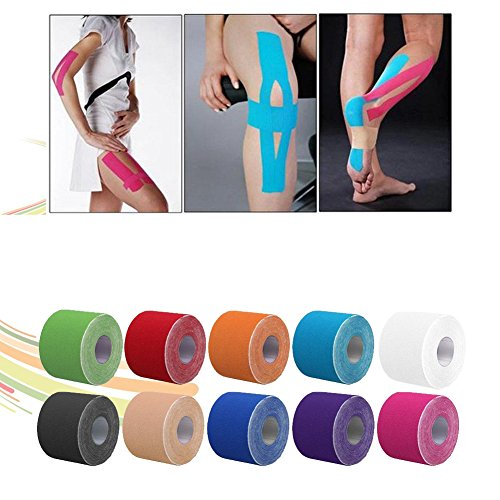 ETbotu Kinesiology Therapeutic Tap Self Adherent Cohesive Cotton Bandage Sport Injury Muscle Protect Bandage MultiColor 105CM by ETbotu