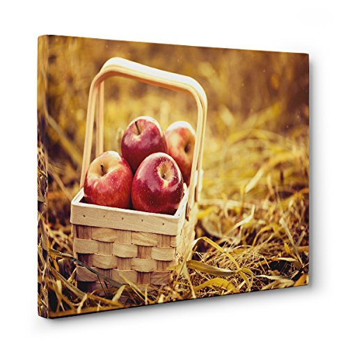 AUTUMN Apples and Leaves Wood CANVAS Wall Art (Thanksgiving Basket Landscapes)