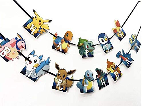 Astra Gourmet Cartoon Happy Birthday Banner, Adorable Party Decorations for Kids Birthday Party -