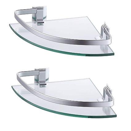 Amazon.com: KES - Estante de cristal de aluminio para baño ...