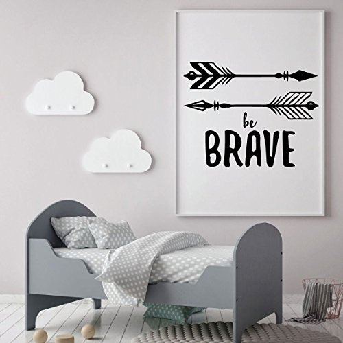 Native American Indian Teepee (Arrow Wall Decal - Be Brave - Vinyl Decor for Baby's Room, Children's Bedroom or Play Room - VINYL DECAL ONLY - FRAME NOT INCLUDED)