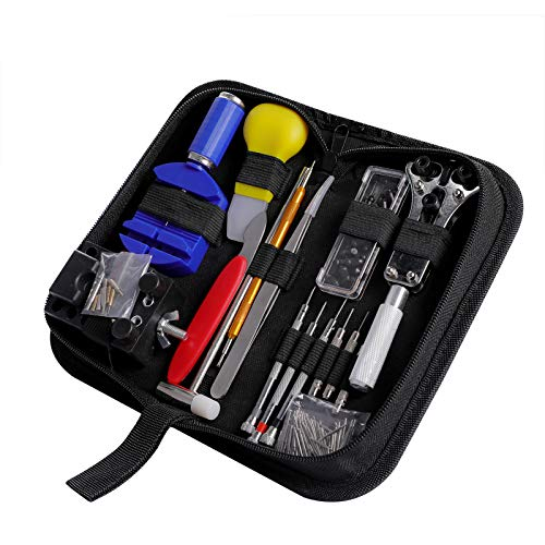 Watch Repair Kit CREMAX 147 PCS Professional Spring Bar Tool Set, Watch Band Link Pin Tool Set with Carrying Case