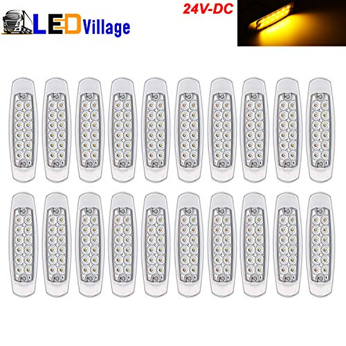 20 pcs 24V DC LedVillage 6.4 Inch LED 12 Diodes Clear Lens Amber Ultra Thin Freightliner Side Maker Light Surface Mount Peterbilt Style Clearance Lamp Truck Trailer RV Boat Sealed Bulb Chrome Housing