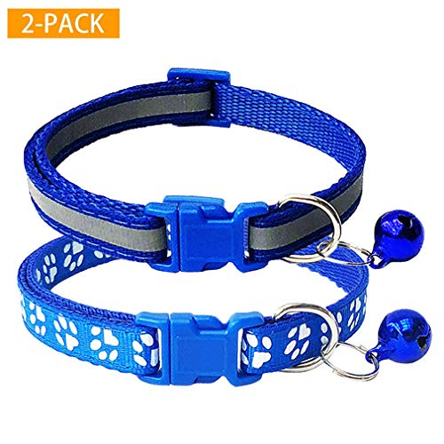 CHBORCHICEN 2-Pack Reflective & Footprint Small Pet Dog Cat Regular Collar with Bell Buckle Adjustable Polyester Cat Dog Collar or Seatbelts (X-Small, Blue)