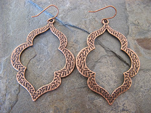 Large Wavy Textured Copper Metal Hoops Earrings Boho Artisan Jewelry - Textured Copper Ring