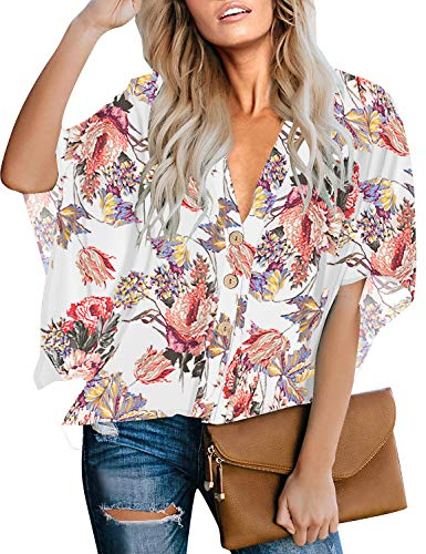 LookbookStore Women's Summer Casual V Neck White Floral Print Button Down Blouse 3/4 Batwing Bell Sleeve Loose Tops Shirt Size XXL 20 22