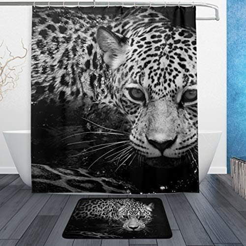 A/c Jaguar Hose (LORVIES Black and White Jaguar Portrait Bathroom Set, Polyester Fabric Shower Curtain (60X72 Inch) with Bath Mats Rugs(15.7 X 23.6 Inch)-12 Rings)