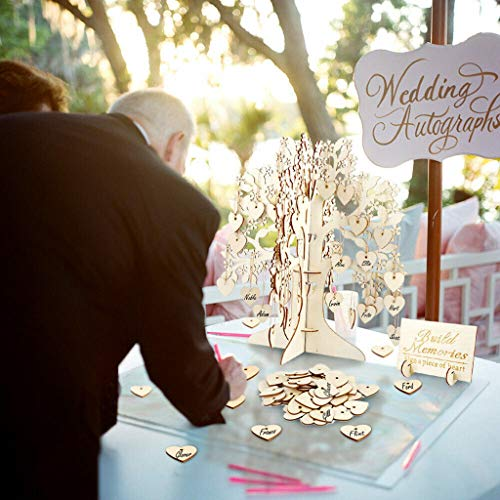 Maikouhai Wooden Wedding Guest Book Tree Hearts Pendant Drop Ornaments Party Decoration - 1 Wishing Tree and 100 Heart Tags and 1 Instruction Card and 100 Rope - for Mark, Notes, Memo, Specification