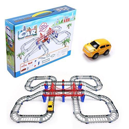 クリスマスギフト冒険Play Vehiclesリモートコントロールおもちゃリモートコントロール列車トラックローラーCoast Buildingセット