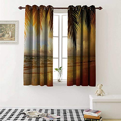 shenglv Ocean Waterproof Window Curtain Sunset on The Beach of Caribbean Sea Waves Coast with Palm Tree Curtains Living Room W55 x L45 Inch Yellow Dark Orange Baby Blue