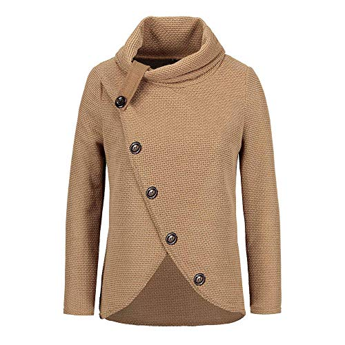 Womens Turtleneck Sweater Plus Size AmyDong Asymmetric Hem Wrap Pullover Coat with Button Shirt Hoodies Outwear (L, -