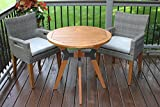 "Outdoor Interiors 30"" Eucalyptus & Metal Bistro Table"