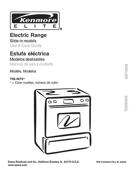 amazon com kenmore elite 318203813 range owner s manual for kenmore rh amazon com kenmore stove 790 manual Kenmore 790 Electric Range Sizes