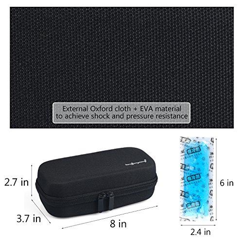 Insulin Cooler Bag Diabetic Organizer Medical Travel Cooler Pack with 3 Ice Pack (Black) by PlasMaller (Image #4)