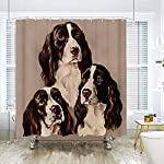 SARA NELL Shower Curtains English Springer Spaniel Portrait Pastel Shower Curtain Fabric Waterproof Fabric Bathroom Curtain Set with 12 Hooks - 72 x 72 Inch 8