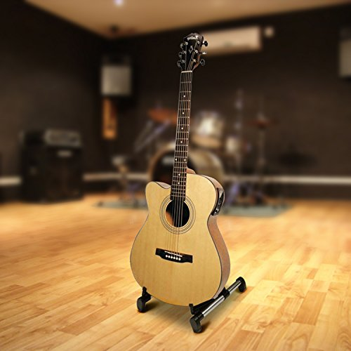 Flexzion Guitar Stand Folding Adjustable A-Frame Floor Portable Instrument Stand Rack Holder for Acoustic Electric Classical Guitar and Bass, Violin, Ukulele, Banjo, Mandolin Portable Lightweight by Flexzion (Image #6)