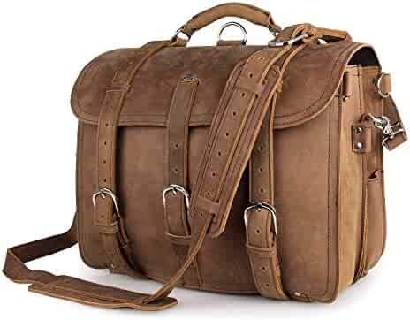 Texbo Real Thick Cowhide Leather Men's Shoulder Briefcase Fit 17