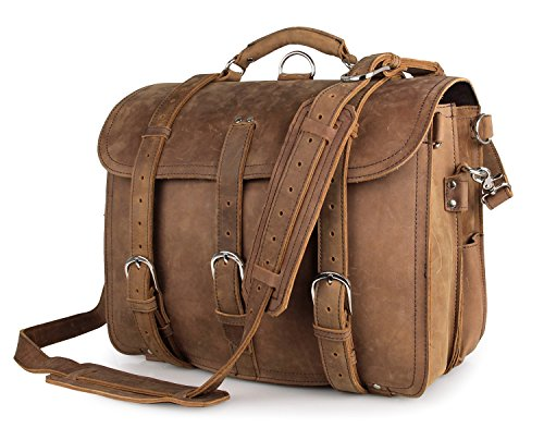 Texbo Men's Thick Cowhide Leather 16 Inch Laptop Shoulder Messenger Bag Briefcase Tote