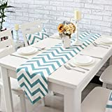Uphome 1pc Classical Chevron Zig Zag Pattern Table Runner - Cotton Canvas Fabric Table Top Decoration, Aqua and White