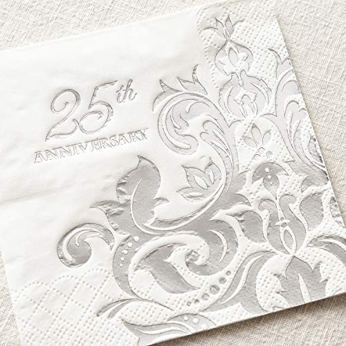 Crisky 25th Wedding Anniversary Napkins Silver Cocktail Beverage Napkins, 25th Wedding Anniversary Decorations for Candy Cake Table Decor 25th Party Supply, 100 Pcs, 3-ply -