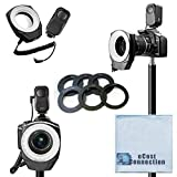 Universal Photography LED Macro Ring Light, 48 Bulbs, for Nikon, Canon, Sony, Olympus, Samsung, Panasonic, Pentax with Six Adapter Rings + eCostConnection Microfiber Cloth